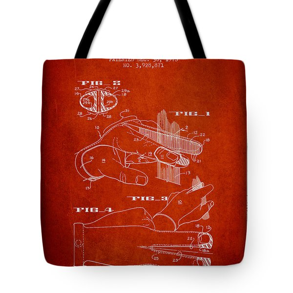 Barbers Glove Patent From 1975 - Red Tote Bag