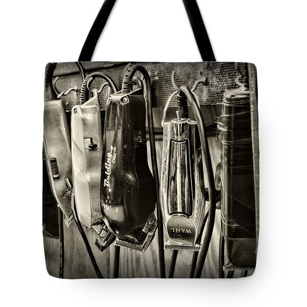 Barbershop Clippers In Black And White Tote Bag by Paul Ward