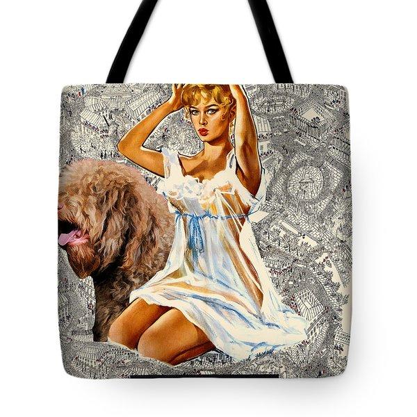 Barbet Art - Una Parisienne Movie Poster Tote Bag by Sandra Sij