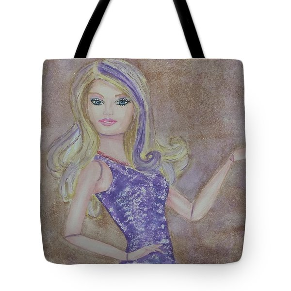 Tote Bag featuring the painting Barbie ... Purple by Kelly Mills
