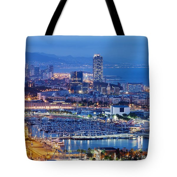 Barcelona Cityscape By Night Tote Bag