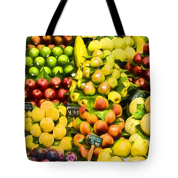 Tote Bag featuring the photograph Barcelona Market Fruit by Steven Sparks