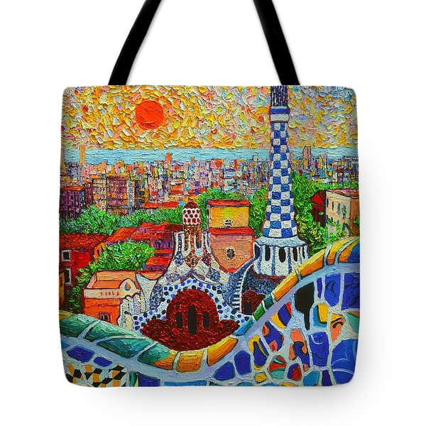 Barcelona Sunrise - Guell Park - Gaudi Tower Tote Bag