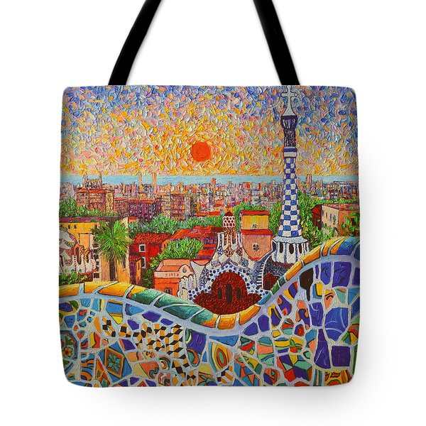 Barcelona Sunrise Light - View From Park Guell Of Gaudi - Square Format Tote Bag