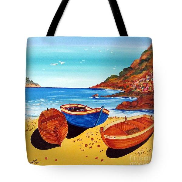 Tote Bag featuring the painting Barche Siciliane by Roberto Gagliardi