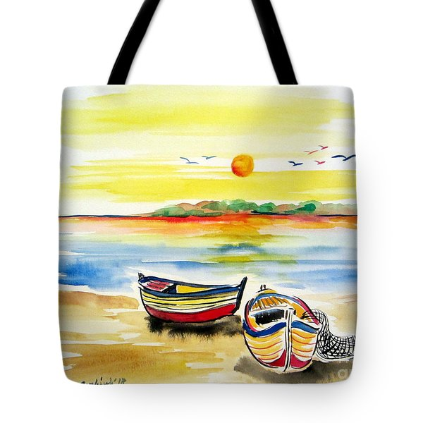 Barchette In The Sunset Tote Bag