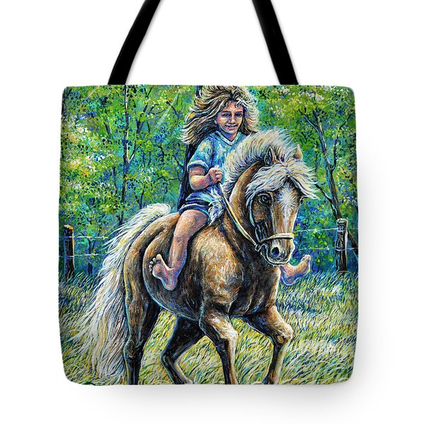 Barefoot Rider Tote Bag by Gail Butler