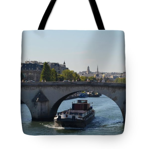 Barge On River Seine Tote Bag