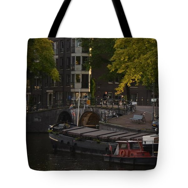 barges in Amsterdam Tote Bag