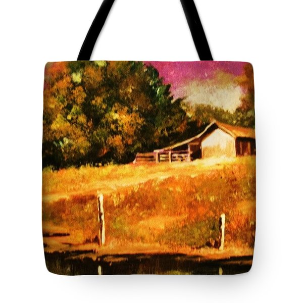 Barn Above The Creekbed Tote Bag