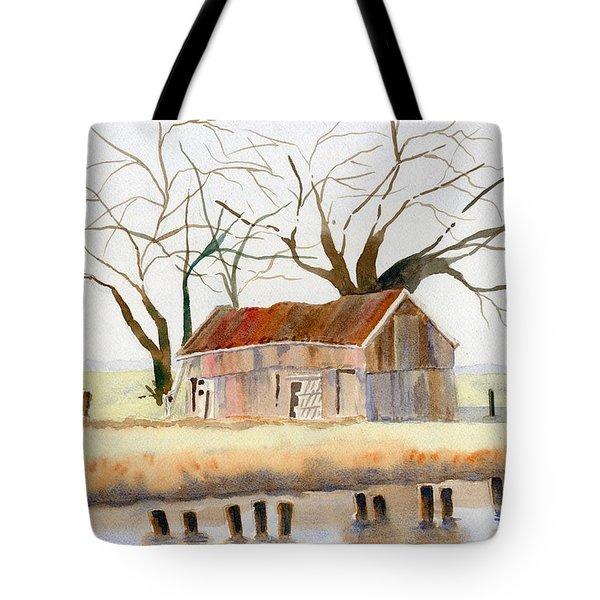 Barn Along The Bank Tote Bag