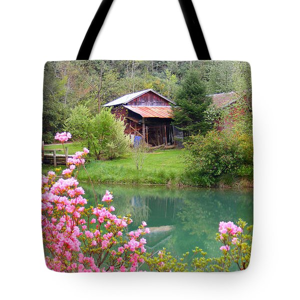 Barn And Flowers Near Pond Tote Bag