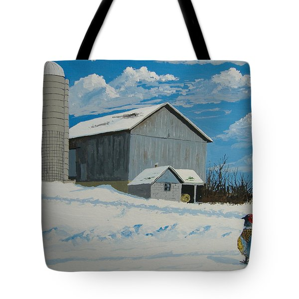 Barn And Pheasant Tote Bag by Norm Starks