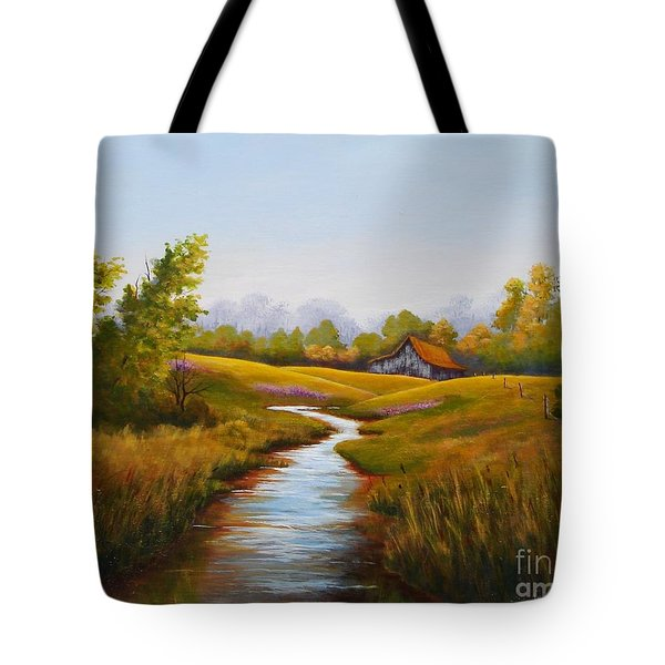 Barn And Stream Tote Bag