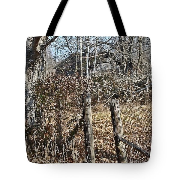 Tote Bag featuring the photograph Barn Beyond The Fence Row by Greg Jackson