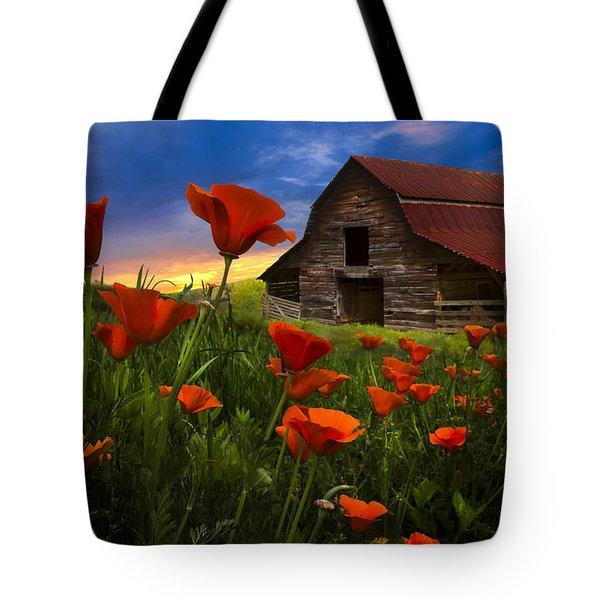 Barn In Poppies Tote Bag by Debra and Dave Vanderlaan