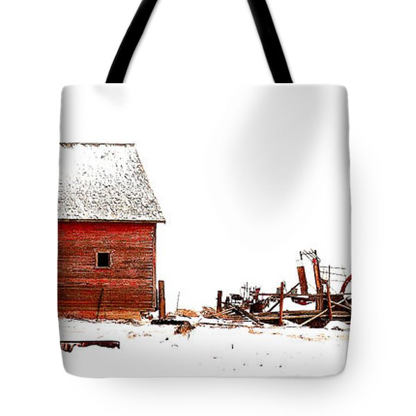 Barn In The Snow Tote Bag by Steven Reed