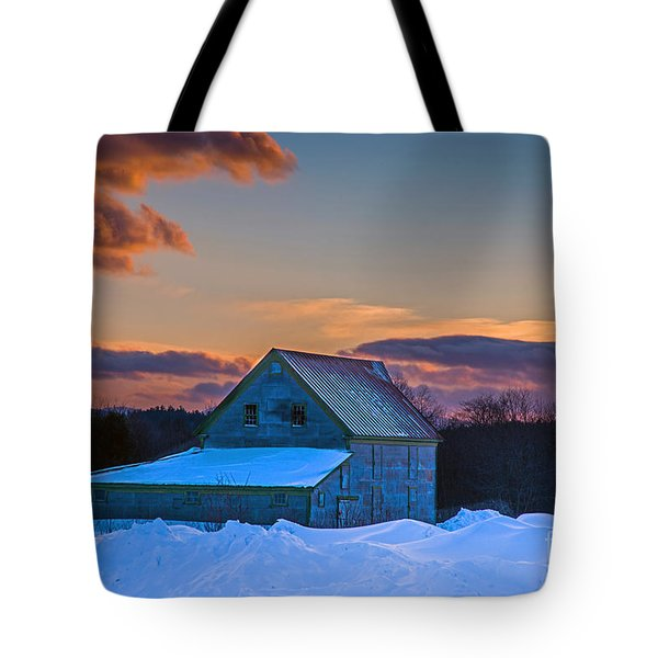 Barn In Winter Tote Bag