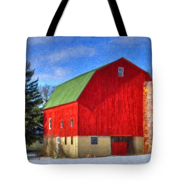 Barn In Winter Tote Bag