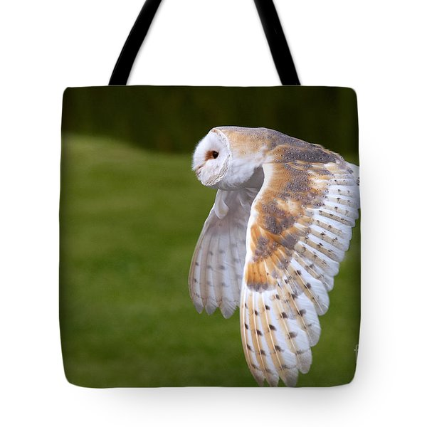Tote Bag featuring the photograph Barn Owl In Flight by Nick  Biemans