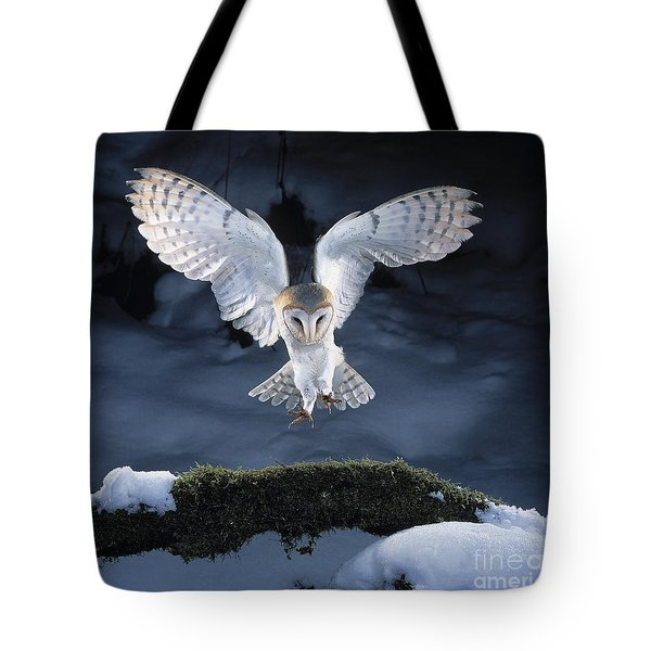 Barn Owl Landing Tote Bag by Manfred Danegger