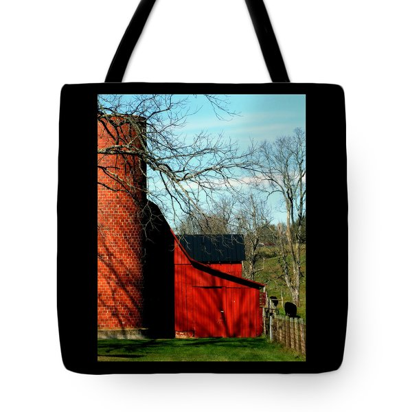 Barn Shadows Tote Bag by Karen Wiles