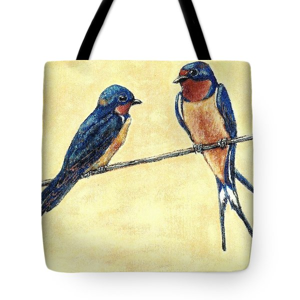 Barn-swallow Pair Tote Bag by VLee Watson