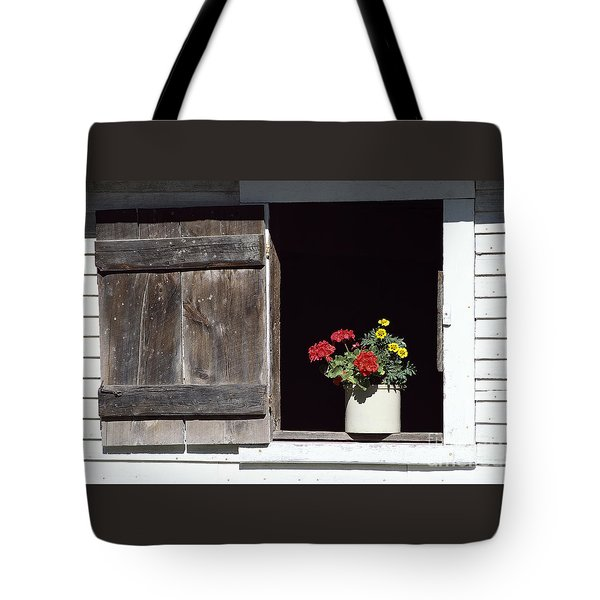 Tote Bag featuring the photograph Barn Window Flowers by Alan L Graham