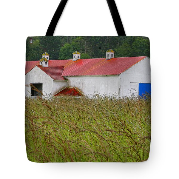 Barn With Blue Door Tote Bag by Art Block Collections