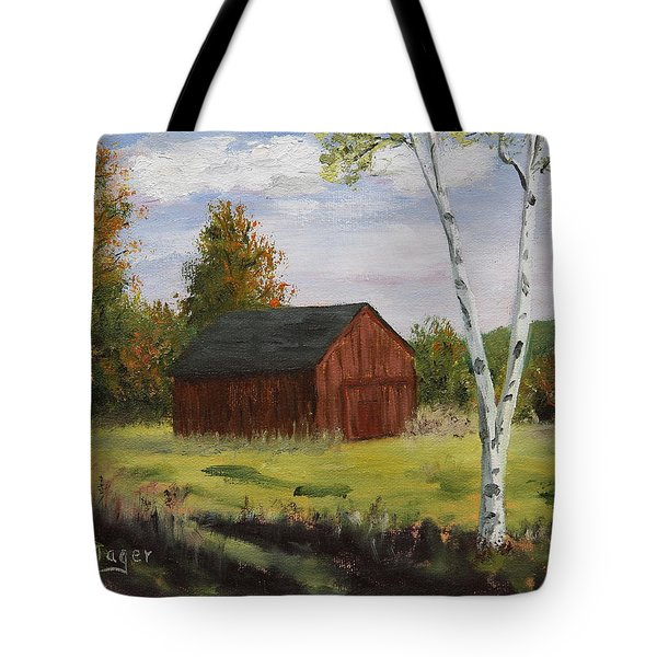 Barn With Lone Birch Tote Bag