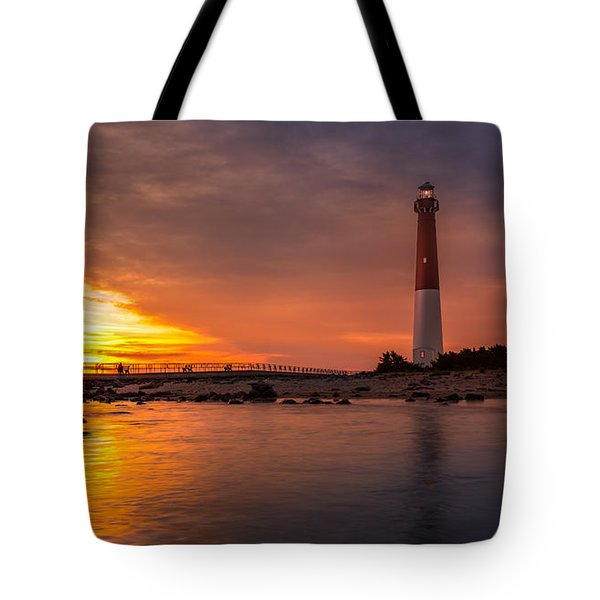 Tote Bag featuring the photograph Barnegat Sunset Light by Mihai Andritoiu