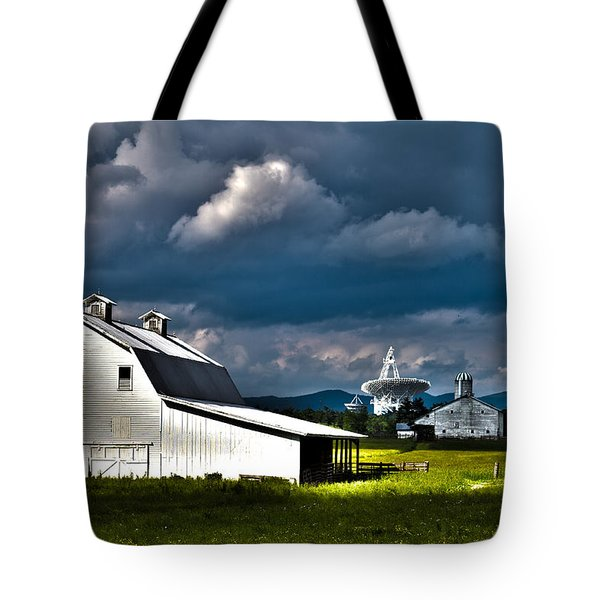 Barns And Radio Telescopes Tote Bag