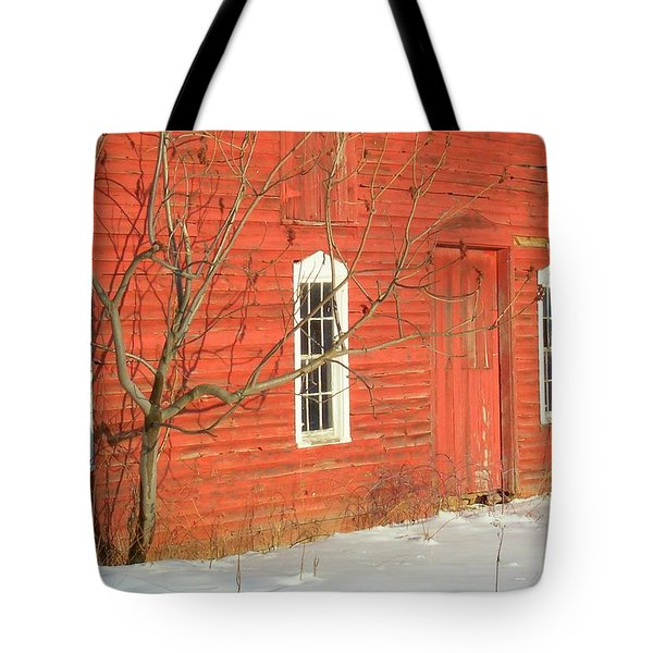 Tote Bag featuring the photograph Barnwall In Winter by Rodney Lee Williams