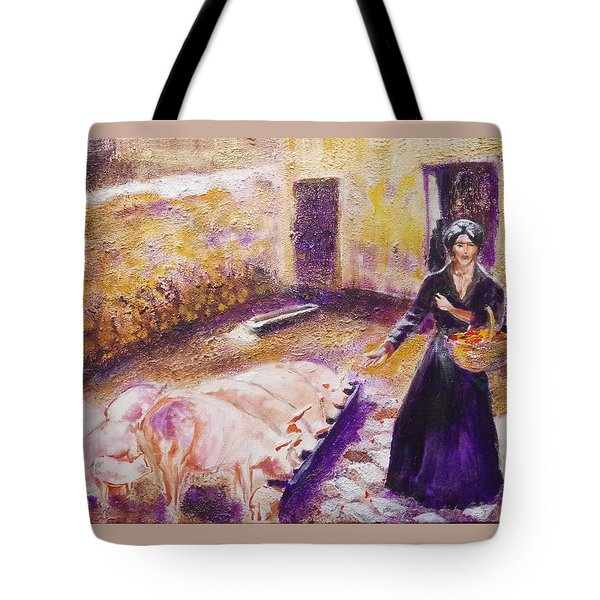 Barnyard Breakfast...chickens And Pigs Tote Bag by Seth Weaver