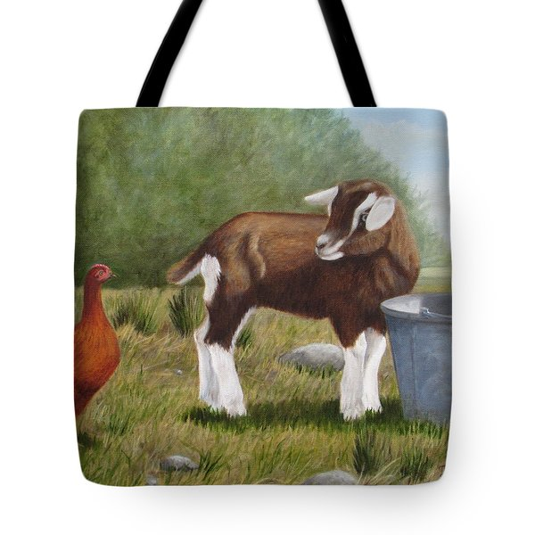 Tote Bag featuring the painting Barnyard Talk by Tammy Taylor