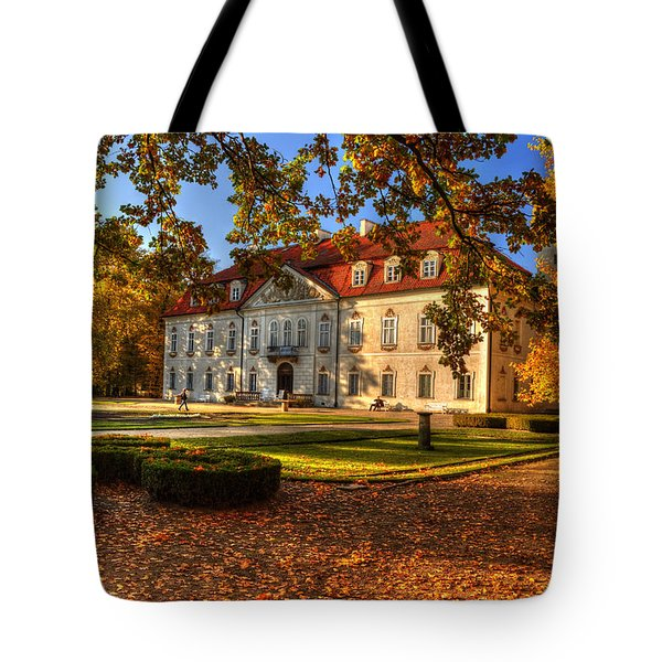 Tote Bag featuring the photograph Baroque Palace In Nieborow In Poland During Golden Autumn by Julis Simo
