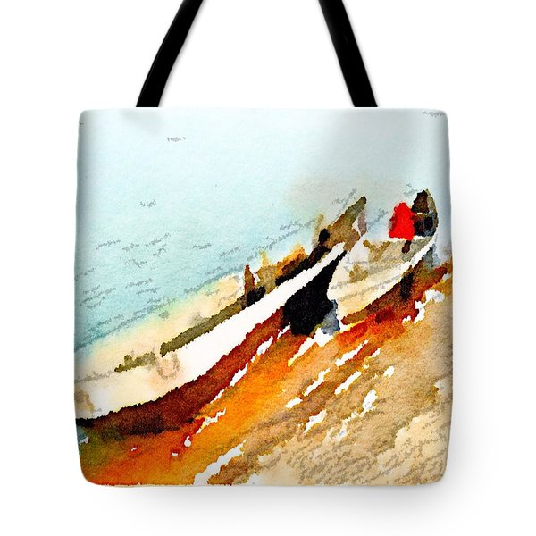 Tote Bag featuring the painting Barques Sur Le Chari by Helge
