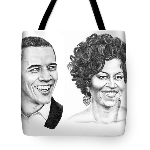 Barrack And Michelle Obama Tote Bag by Murphy Elliott
