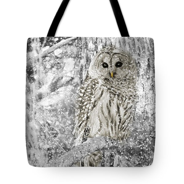 Barred Owl Snowy Day In The Forest Tote Bag by Jennie Marie Schell
