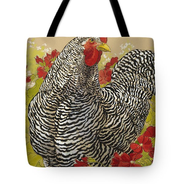 Barred Rock Rooster In The Geraniums Tote Bag by Tracie Thompson