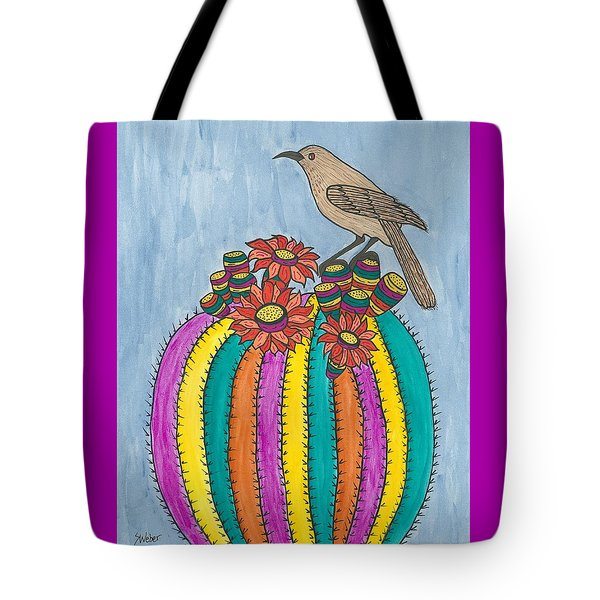 Tote Bag featuring the painting Barrel Of Cactus Fun by Susie Weber