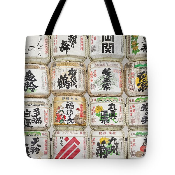 Barrels Of Sake At The Meiji Jingu Shrine Tote Bag
