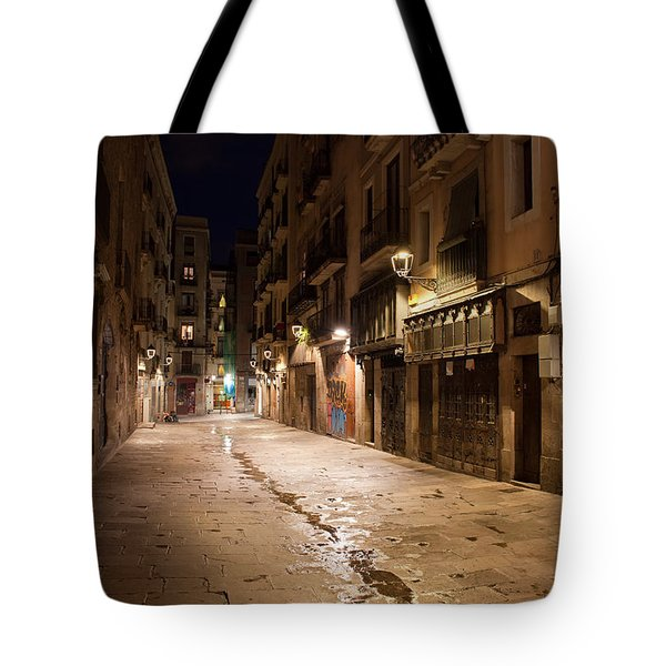 Barri Gotic At Night In Barcelona Tote Bag