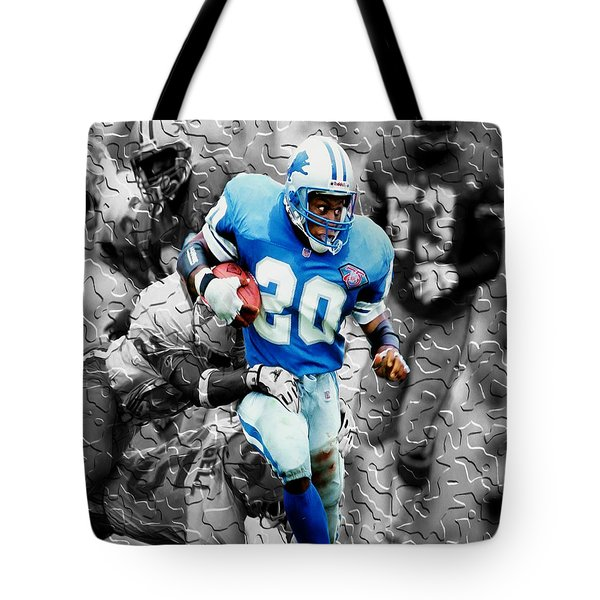 Barry Sanders Breaking Out Tote Bag