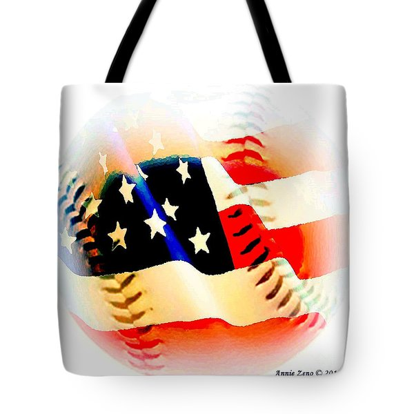Baseball And American Flag Tote Bag by Annie Zeno