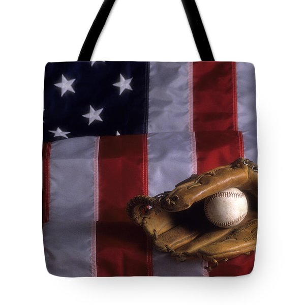 Baseball And American Flag Tote Bag