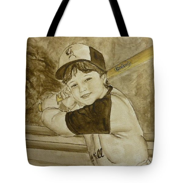 Tote Bag featuring the painting Baseball At It's Best by Kelly Mills