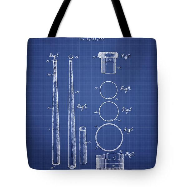 Baseball Bat Patent From 1926 - Blueprint Tote Bag