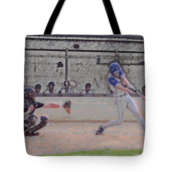 Baseball Batter Contact Digital Art Tote Bag by Thomas Woolworth