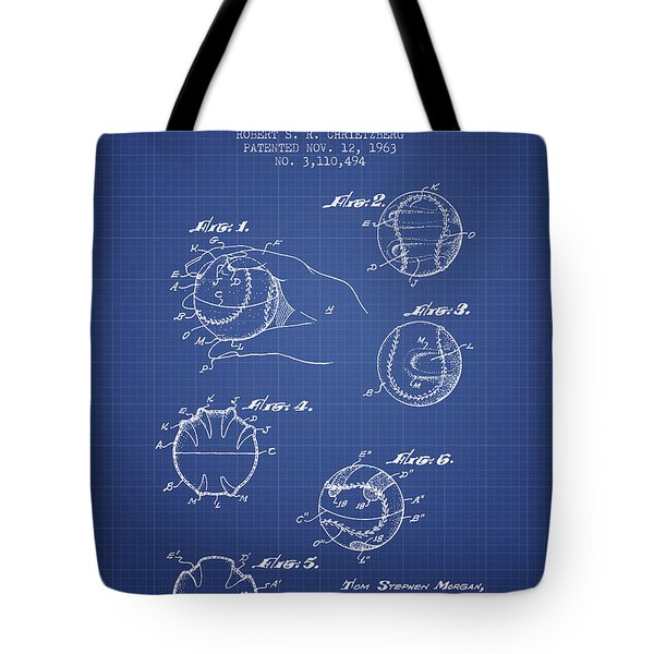 Baseball Cover Patent From 1963- Blueprint Tote Bag